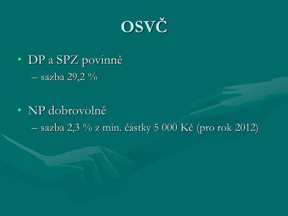 OSVČ DP a SPZ povinněDP a SPZ povinně –sazba 29,2 % NP dobrovolněNP dobrovolně –sazba 2,3 % z min. částky 5 000 Kč (pro rok 2012)