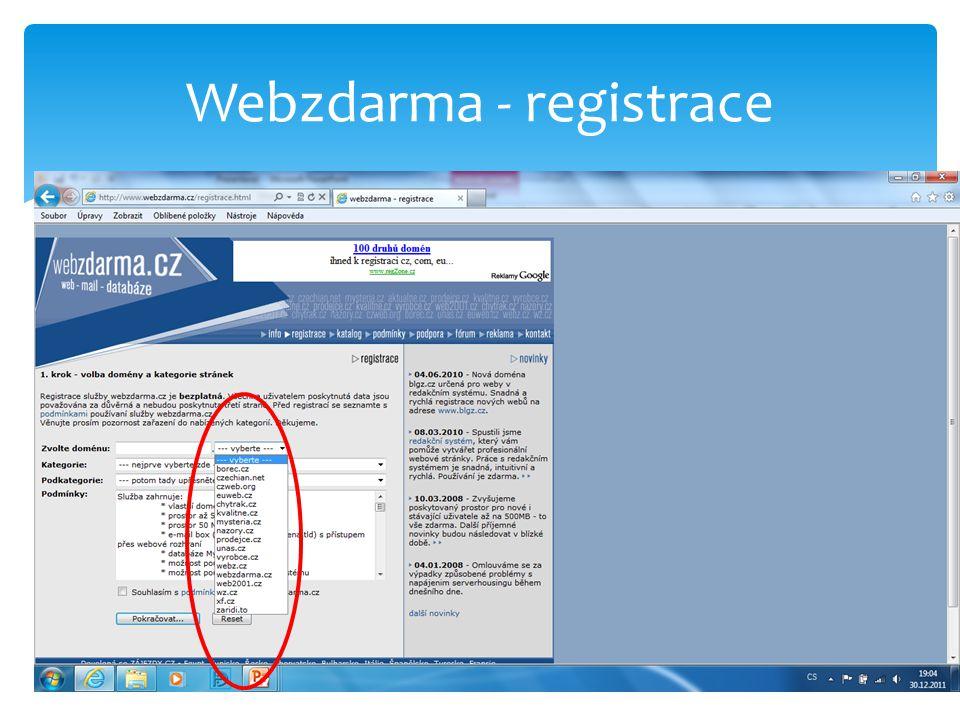 Webzdarma - registrace