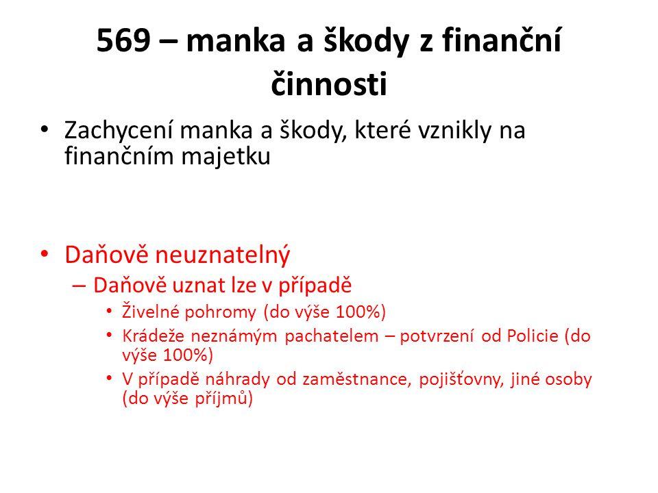 569 – manka a škody z finanční činnosti Zachycení manka a škody, které vznikly na finančním majetku Daňově neuznatelný – Daňově uznat lze v případě Ži