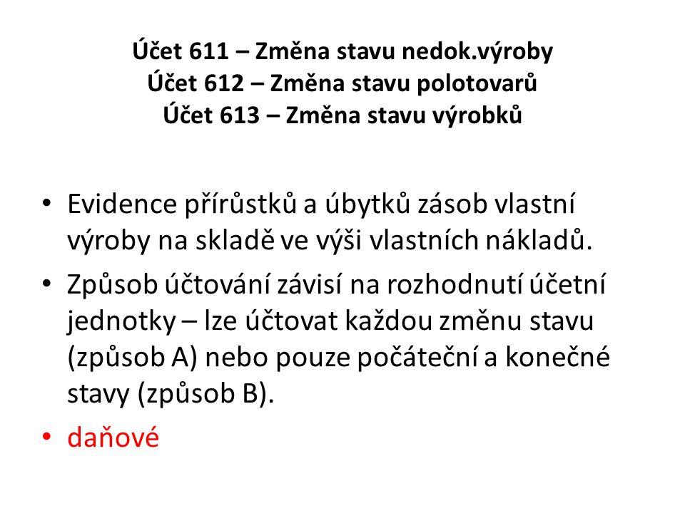 Účet 611 – Změna stavu nedok.výroby Účet 612 – Změna stavu polotovarů Účet 613 – Změna stavu výrobků Evidence přírůstků a úbytků zásob vlastní výroby na skladě ve výši vlastních nákladů.