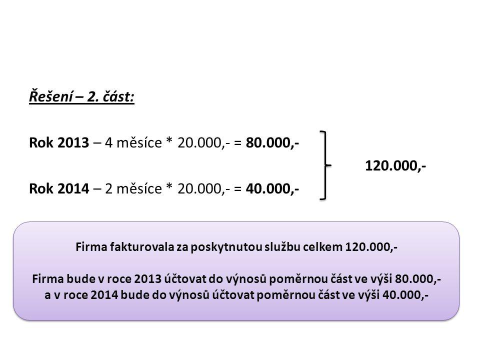 Řešení – 2. část: Rok 2013 – 4 měsíce * 20.000,- = 80.000,- 120.000,- Rok 2014 – 2 měsíce * 20.000,- = 40.000,- Firma fakturovala za poskytnutou služb
