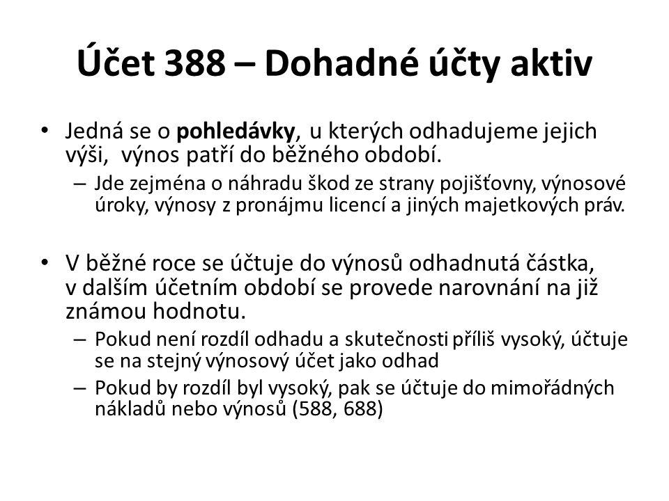 Účet 388 – Dohadné účty aktiv Jedná se o pohledávky, u kterých odhadujeme jejich výši, výnos patří do běžného období. – Jde zejména o náhradu škod ze