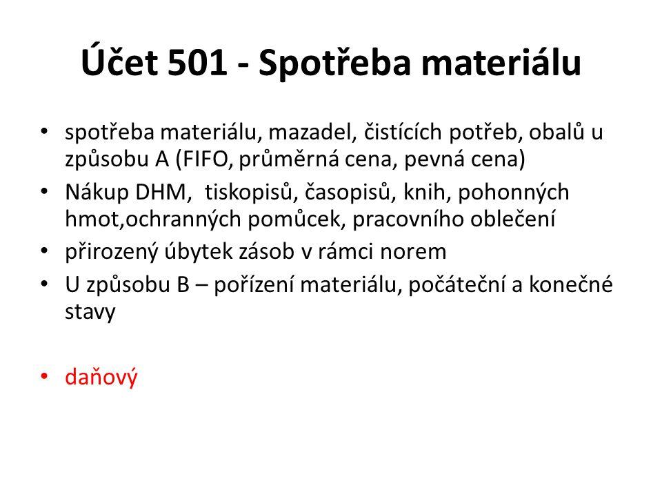 Účet 501 - Spotřeba materiálu spotřeba materiálu, mazadel, čistících potřeb, obalů u způsobu A (FIFO, průměrná cena, pevná cena) Nákup DHM, tiskopisů, časopisů, knih, pohonných hmot,ochranných pomůcek, pracovního oblečení přirozený úbytek zásob v rámci norem U způsobu B – pořízení materiálu, počáteční a konečné stavy daňový