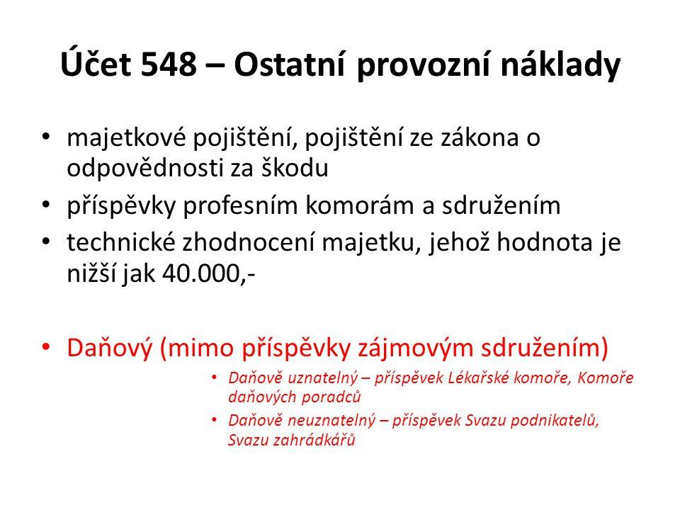 Účet 548 – Ostatní provozní náklady majetkové pojištění, pojištění ze zákona o odpovědnosti za škodu příspěvky profesním komorám a sdružením technické
