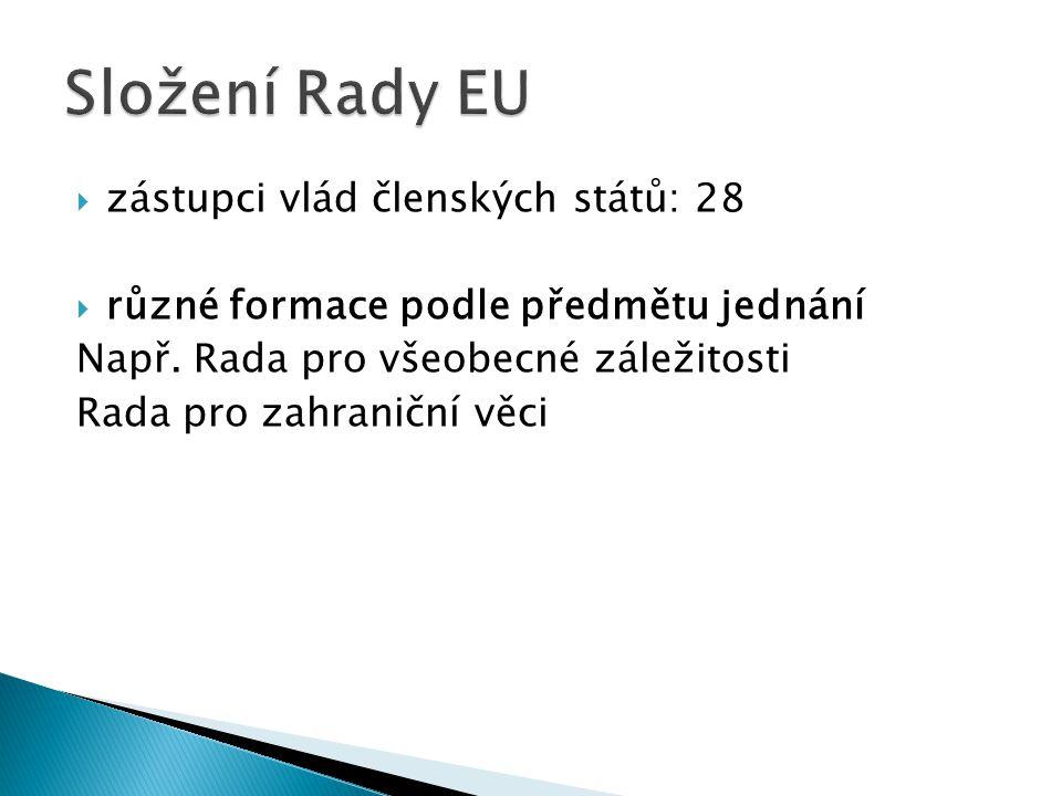  zástupci vlád členských států: 28  různé formace podle předmětu jednání Např.