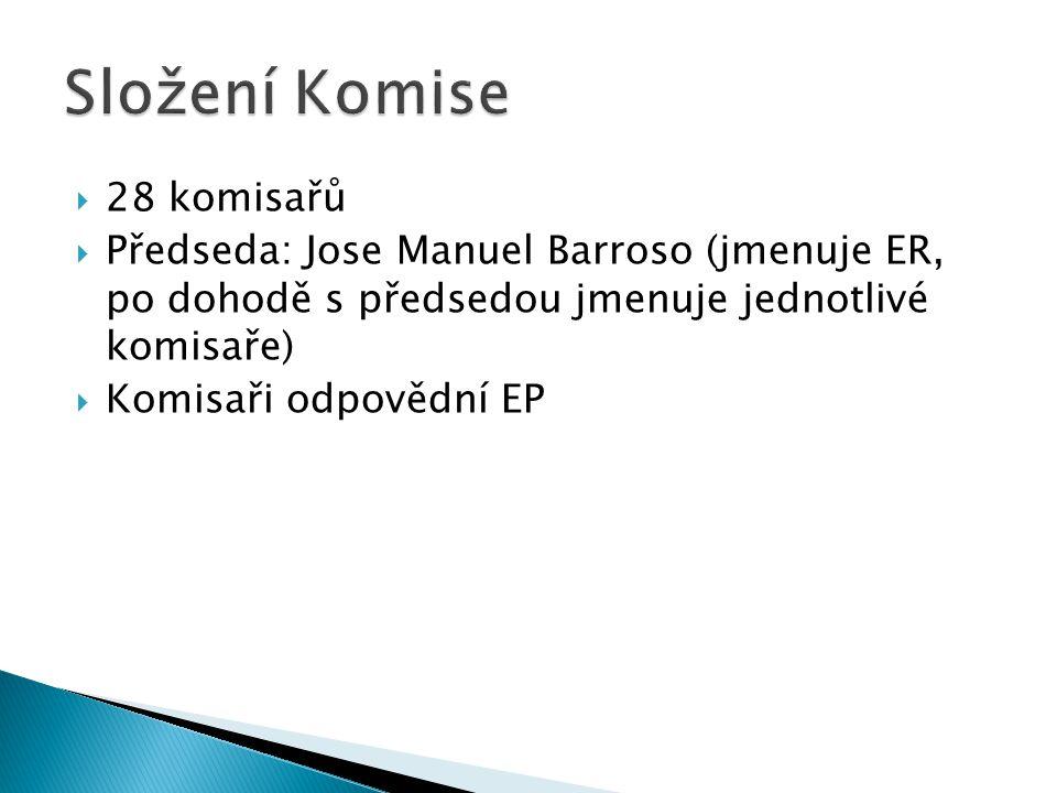  28 komisařů  Předseda: Jose Manuel Barroso (jmenuje ER, po dohodě s předsedou jmenuje jednotlivé komisaře)  Komisaři odpovědní EP