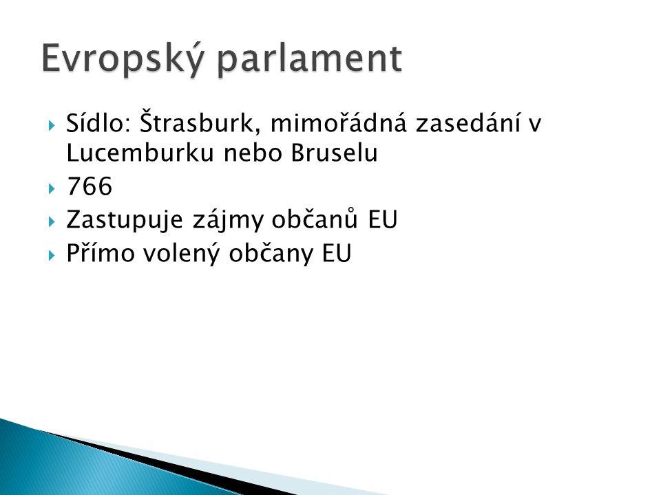  Sídlo: Štrasburk, mimořádná zasedání v Lucemburku nebo Bruselu  766  Zastupuje zájmy občanů EU  Přímo volený občany EU