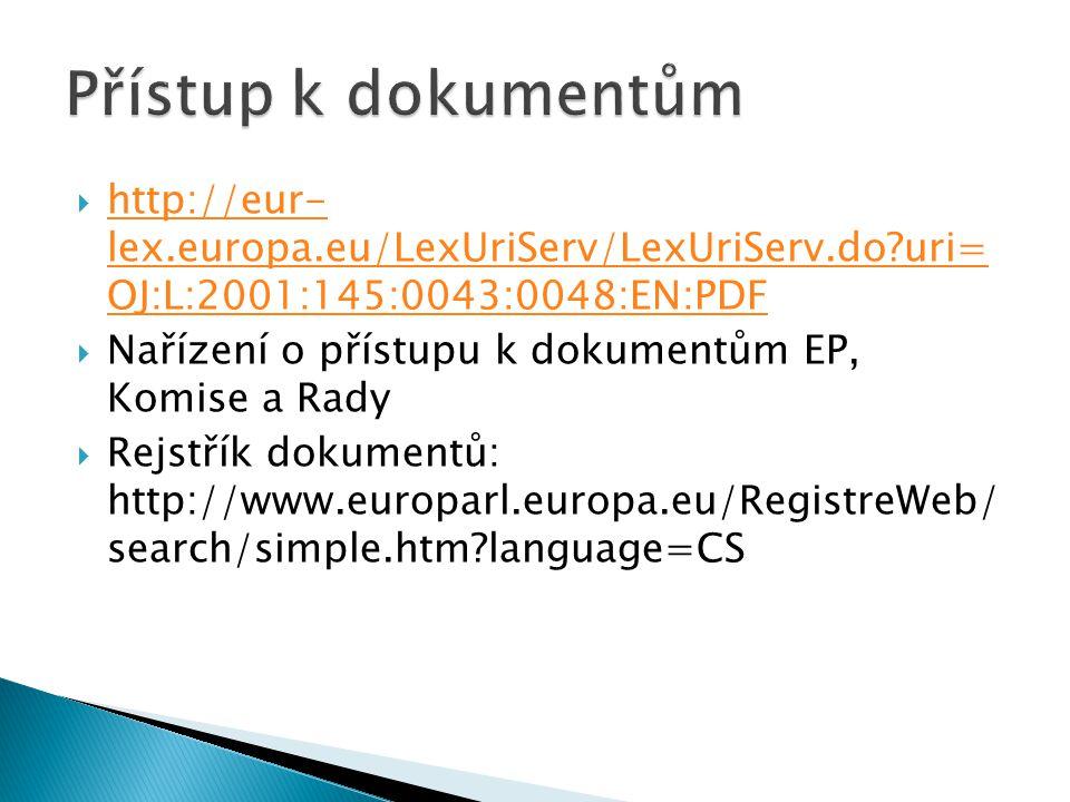  http://eur- lex.europa.eu/LexUriServ/LexUriServ.do uri= OJ:L:2001:145:0043:0048:EN:PDF http://eur- lex.europa.eu/LexUriServ/LexUriServ.do uri= OJ:L:2001:145:0043:0048:EN:PDF  Nařízení o přístupu k dokumentům EP, Komise a Rady  Rejstřík dokumentů: http://www.europarl.europa.eu/RegistreWeb/ search/simple.htm language=CS