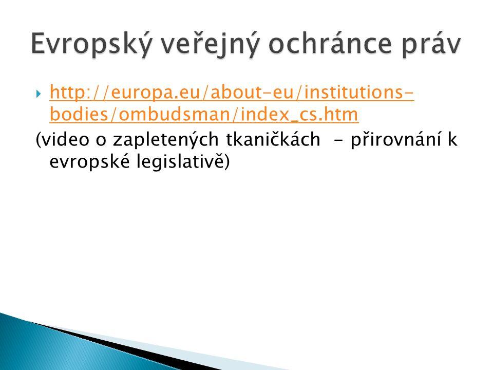  http://europa.eu/about-eu/institutions- bodies/ombudsman/index_cs.htm http://europa.eu/about-eu/institutions- bodies/ombudsman/index_cs.htm (video o zapletených tkaničkách - přirovnání k evropské legislativě)