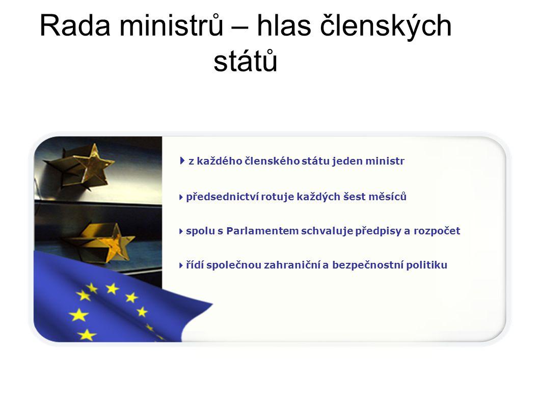 Evropská komise – prosazování společných zájmů 27 nezávislých členů (z každého členského státu jeden)  navrhuje nové předpisy  je orgánem výkonné moci  je strážcem smluv, na kterých EU stojí  zastupuje EU na mezinárodních scéně