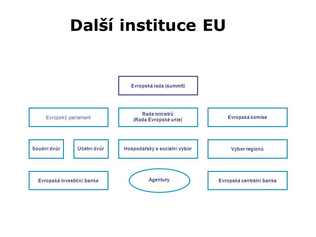 Evropský parlament Další instituce EU EU Soudní dvůrÚčetní dvůrHospodářský a sociální výbor Výbor regionů Rada ministrů (Rada Evropské unie) Evropská