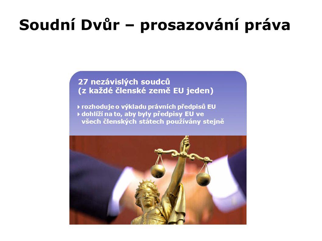 Soudní Dvůr – prosazování práva va 27 nezávislých soudců (z každé členské země EU jeden)  rozhoduje o výkladu právních předpisů EU  dohlíží na to, a