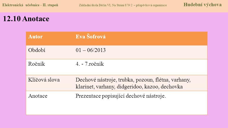 Elektronická učebnice - II. stupeň Základní škola Děčín VI, Na Stráni 879/2 – příspěvková organizace Hudební výchova 12.10 Anotace AutorEva Šofrová Ob
