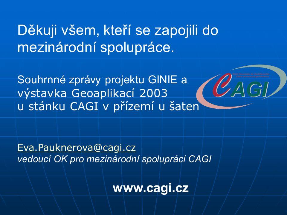 Děkuji všem, kteří se zapojili do mezinárodní spolupráce. Souhrnné zprávy projektu GINIE a výstavka Geoaplikací 2003 u stánku CAGI v přízemí u šaten E