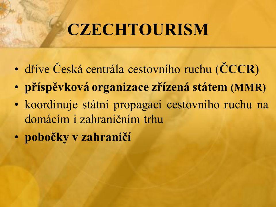 CZECHTOURISM dříve Česká centrála cestovního ruchu (ČCCR) příspěvková organizace zřízená státem (MMR) koordinuje státní propagaci cestovního ruchu na