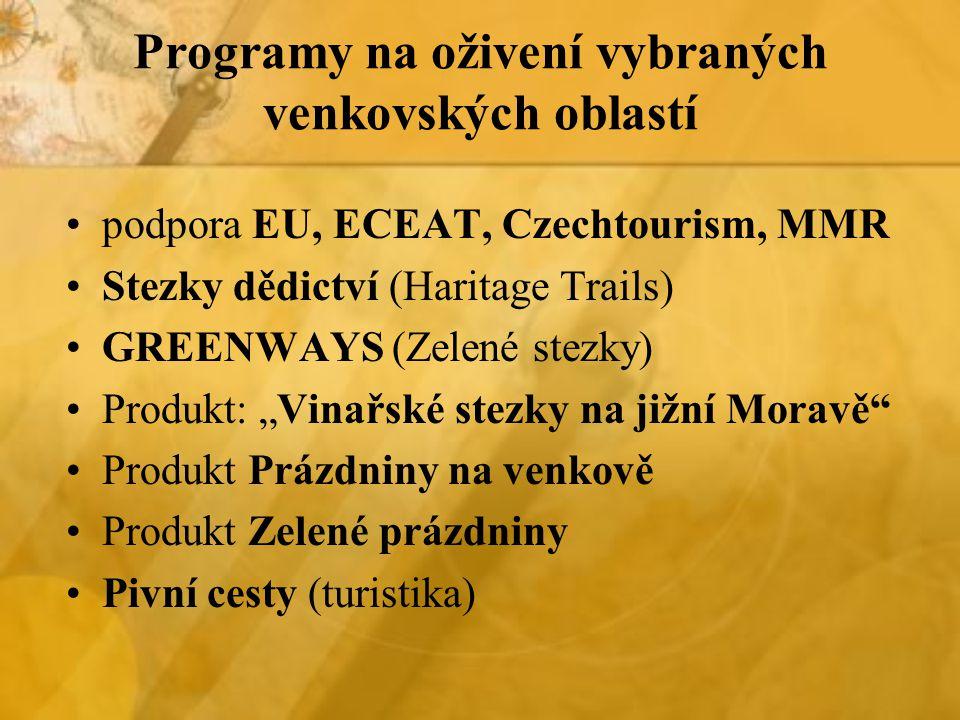 Programy na oživení vybraných venkovských oblastí podpora EU, ECEAT, Czechtourism, MMR Stezky dědictví (Haritage Trails) GREENWAYS (Zelené stezky) Pro