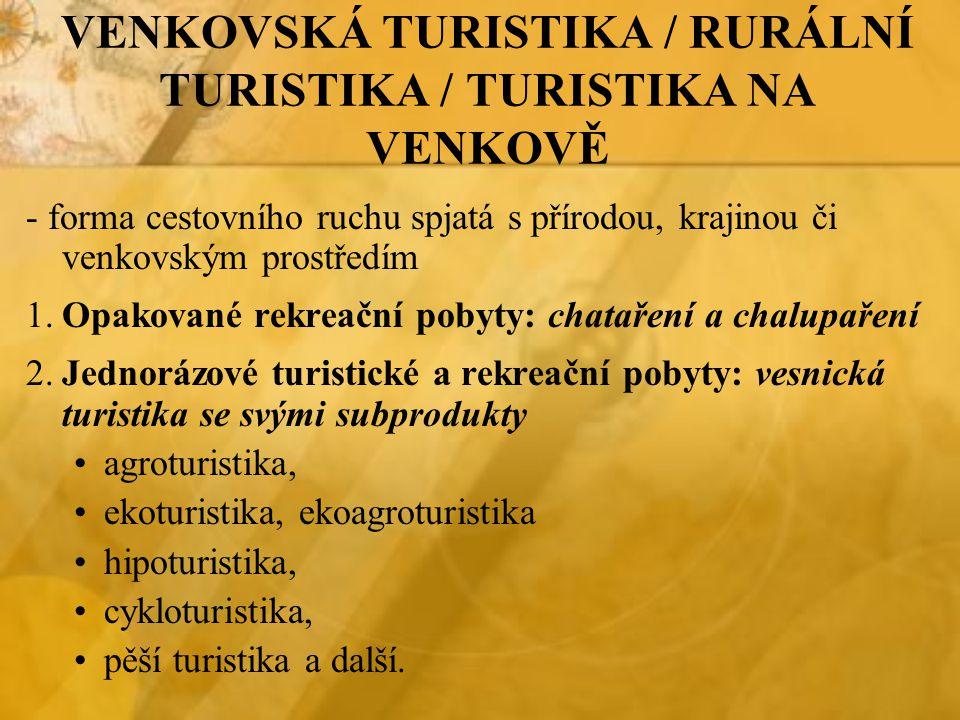 VENKOVSKÁ TURISTIKA / RURÁLNÍ TURISTIKA / TURISTIKA NA VENKOVĚ - forma cestovního ruchu spjatá s přírodou, krajinou či venkovským prostředím 1.Opakova
