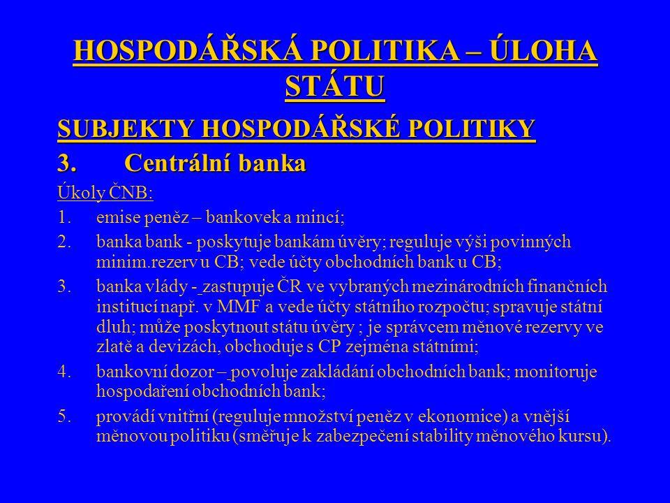 HOSPODÁŘSKÁ POLITIKA – ÚLOHA STÁTU SUBJEKTY HOSPODÁŘSKÉ POLITIKY 3.Centrální banka Úkoly ČNB: 1.emise peněz – bankovek a mincí; 2.banka bank - poskytuje bankám úvěry; reguluje výši povinných minim.rezerv u CB; vede účty obchodních bank u CB; 3.banka vlády - zastupuje ČR ve vybraných mezinárodních finančních institucí např.
