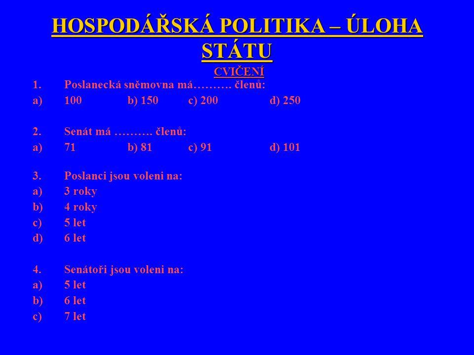HOSPODÁŘSKÁ POLITIKA – ÚLOHA STÁTU CVIČENÍ 1.Poslanecká sněmovna má……….