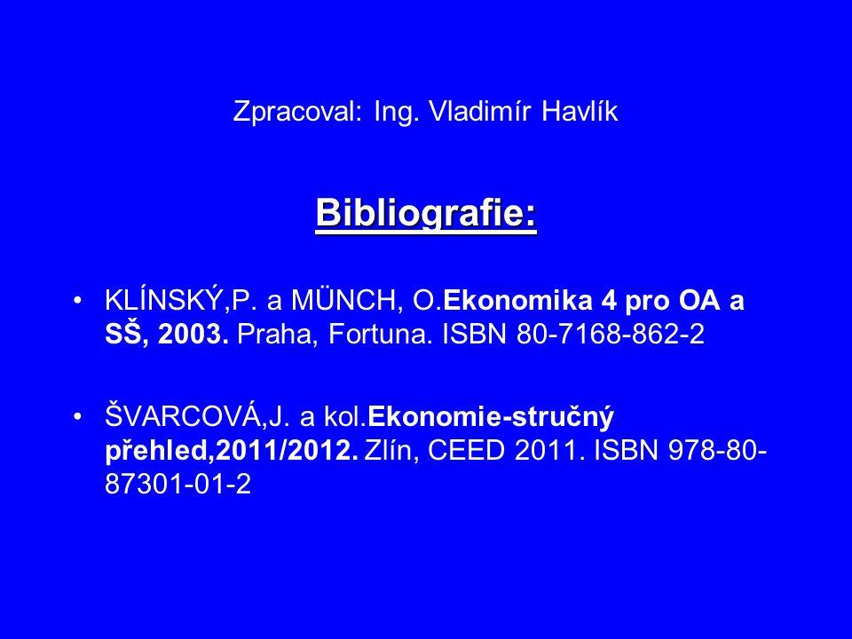 Zpracoval: Ing. Vladimír Havlík Bibliografie: KLÍNSKÝ,P. a MÜNCH, O.Ekonomika 4 pro OA a SŠ, 2003. Praha, Fortuna. ISBN 80-7168-862-2 ŠVARCOVÁ,J. a ko