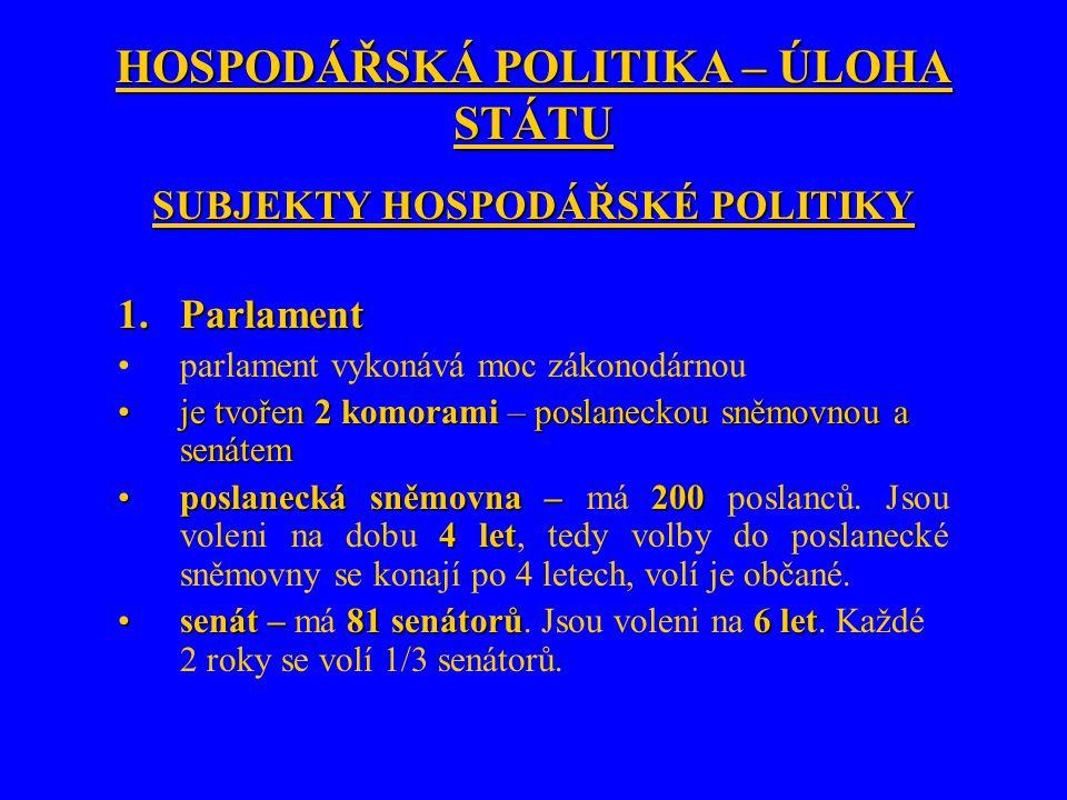HOSPODÁŘSKÁ POLITIKA – ÚLOHA STÁTU SUBJEKTY HOSPODÁŘSKÉ POLITIKY 1.Parlament parlament vykonává moc zákonodárnou je tvořen 2 komorami – poslaneckou sněmovnou a senátemje tvořen 2 komorami – poslaneckou sněmovnou a senátem poslanecká sněmovna – 200 4 letposlanecká sněmovna – má 200 poslanců.