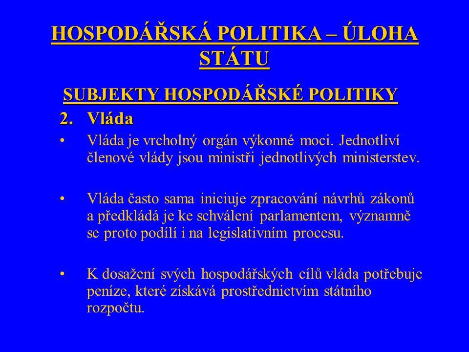 HOSPODÁŘSKÁ POLITIKA – ÚLOHA STÁTU SUBJEKTY HOSPODÁŘSKÉ POLITIKY 2.Vláda Vláda je vrcholný orgán výkonné moci. Jednotliví členové vlády jsou ministři