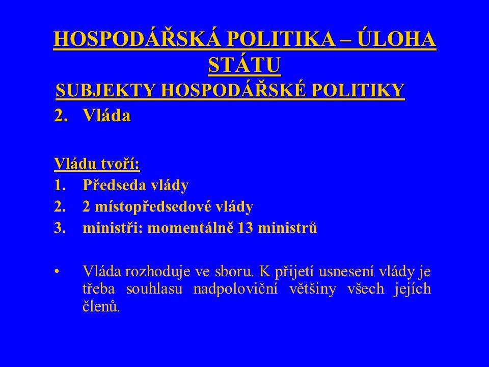 HOSPODÁŘSKÁ POLITIKA – ÚLOHA STÁTU SUBJEKTY HOSPODÁŘSKÉ POLITIKY 2.Vláda Vládu tvoří: 1.Předseda vlády 2.2 místopředsedové vlády 3.ministři: momentáln