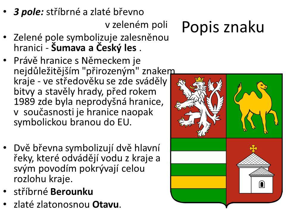 Popis znaku 3 pole: stříbrné a zlaté břevno v zeleném poli Zelené pole symbolizuje zalesněnou hranici - Šumava a Český les. Právě hranice s Německem j