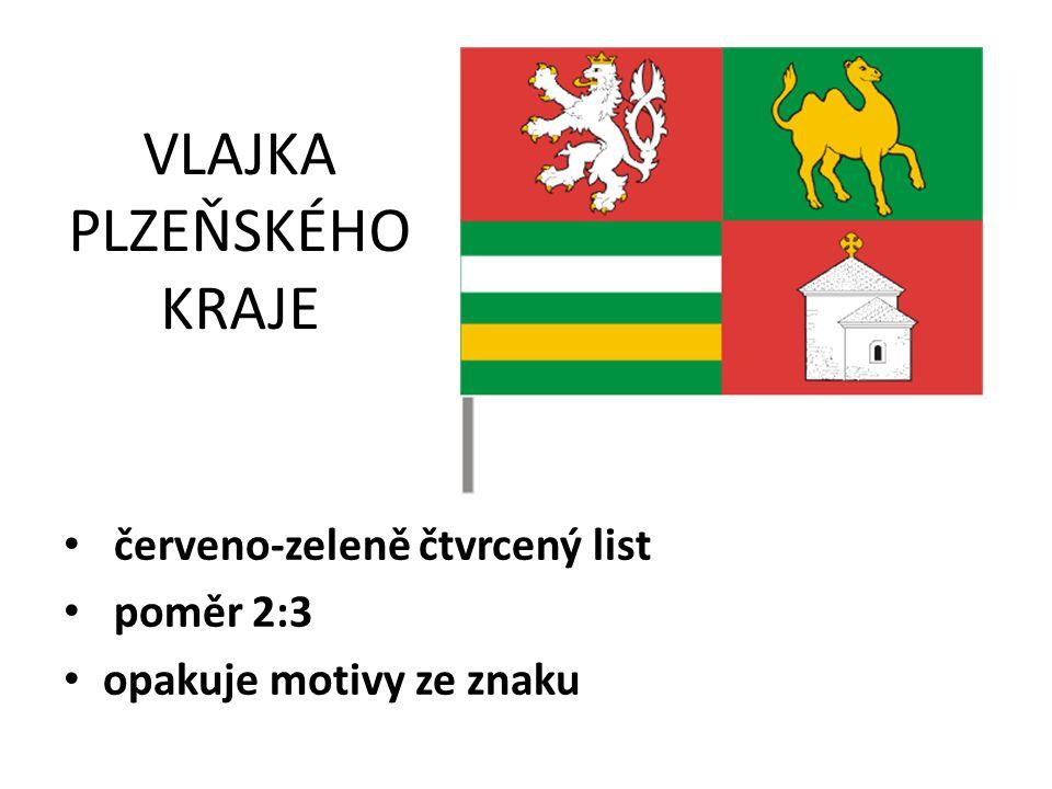 VLAJKA PLZEŇSKÉHO KRAJE červeno-zeleně čtvrcený list poměr 2:3 opakuje motivy ze znaku