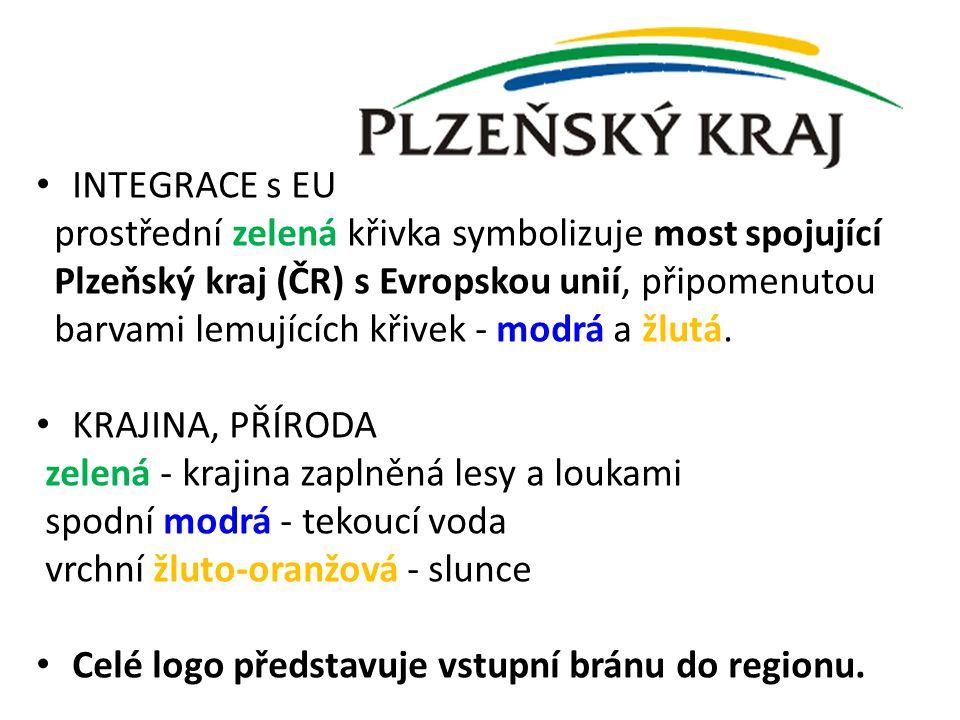 INTEGRACE s EU prostřední zelená křivka symbolizuje most spojující Plzeňský kraj (ČR) s Evropskou unií, připomenutou barvami lemujících křivek - modrá
