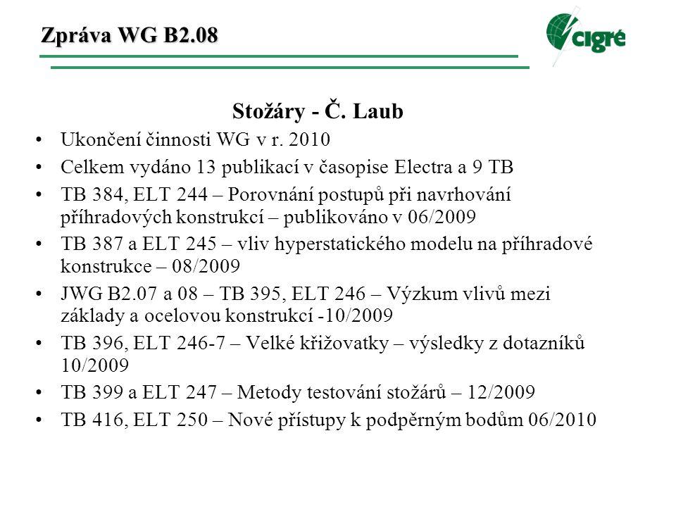Zpráva WG B2.08 Stožáry - Č. Laub Ukončení činnosti WG v r.
