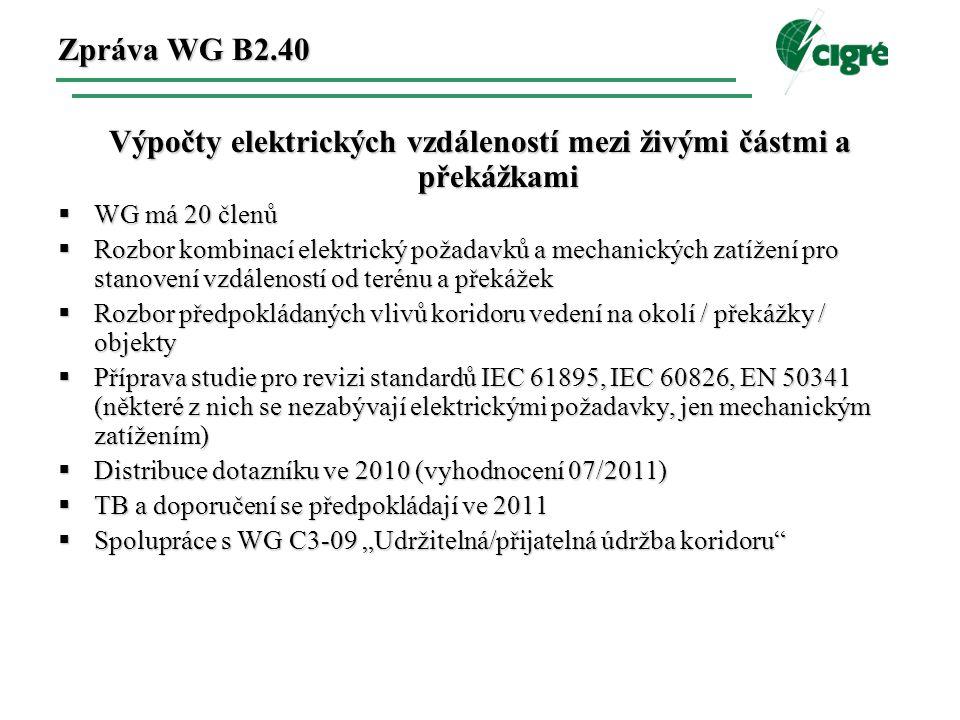 """Zpráva WG B2.40 Výpočty elektrických vzdáleností mezi živými částmi a překážkami  WG má 20 členů  Rozbor kombinací elektrický požadavků a mechanických zatížení pro stanovení vzdáleností od terénu a překážek  Rozbor předpokládaných vlivů koridoru vedení na okolí / překážky / objekty  Příprava studie pro revizi standardů IEC 61895, IEC 60826, EN 50341 (některé z nich se nezabývají elektrickými požadavky, jen mechanickým zatížením)  Distribuce dotazníku ve 2010 (vyhodnocení 07/2011)  TB a doporučení se předpokládají ve 2011  Spolupráce s WG C3-09 """"Udržitelná/přijatelná údržba koridoru"""