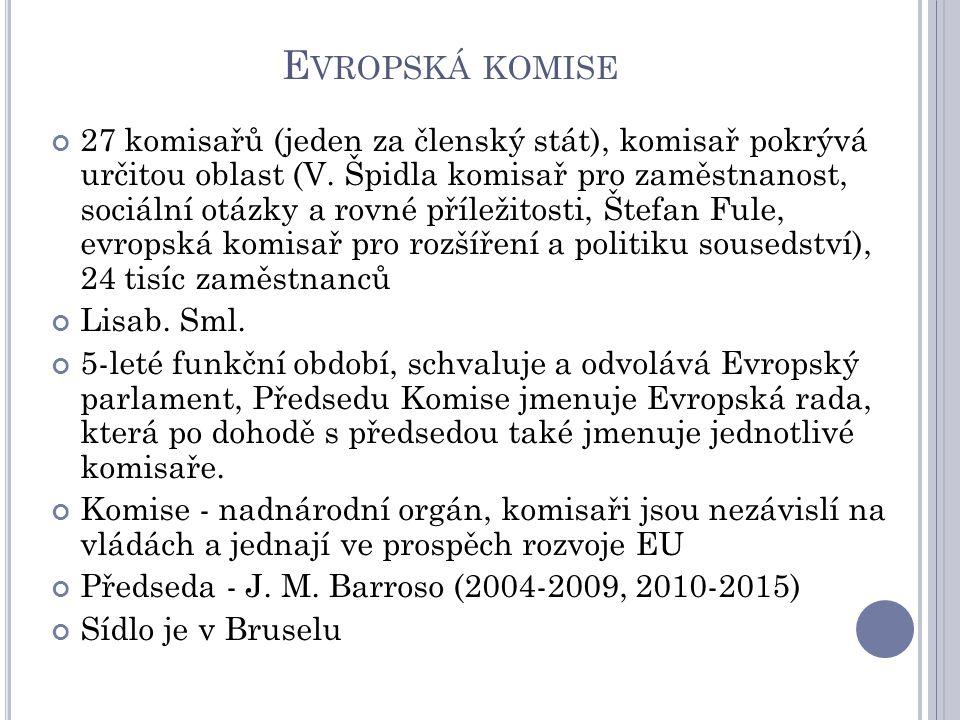 E VROPSKÁ KOMISE 27 komisařů (jeden za členský stát), komisař pokrývá určitou oblast (V.
