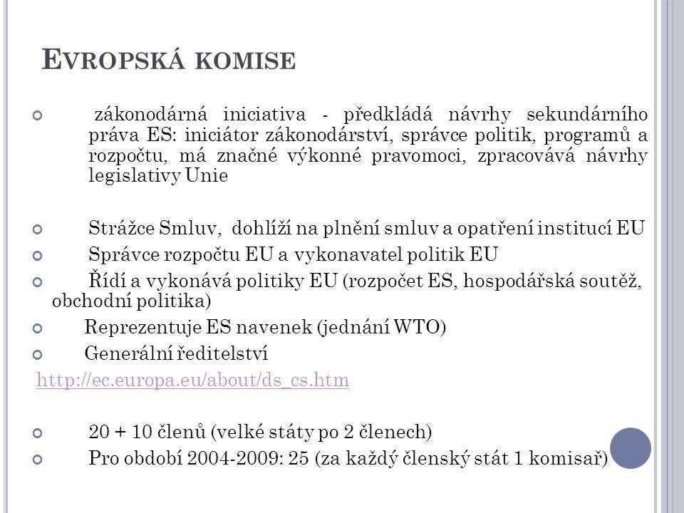 15 E VROPSKÁ KOMISE zákonodárná iniciativa - předkládá návrhy sekundárního práva ES: iniciátor zákonodárství, správce politik, programů a rozpočtu, má značné výkonné pravomoci, zpracovává návrhy legislativy Unie Strážce Smluv, dohlíží na plnění smluv a opatření institucí EU Správce rozpočtu EU a vykonavatel politik EU Řídí a vykonává politiky EU (rozpočet ES, hospodářská soutěž, obchodní politika) Reprezentuje ES navenek (jednání WTO) Generální ředitelství http://ec.europa.eu/about/ds_cs.htm 20 + 10 členů (velké státy po 2 členech) Pro období 2004-2009: 25 (za každý členský stát 1 komisař)