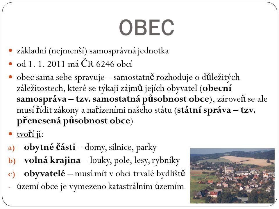 OBEC základní (nejmenší) samosprávná jednotka od 1. 1. 2011 má Č R 6246 obcí obec sama sebe spravuje – samostatn ě rozhoduje o d ů ležitých záležitost