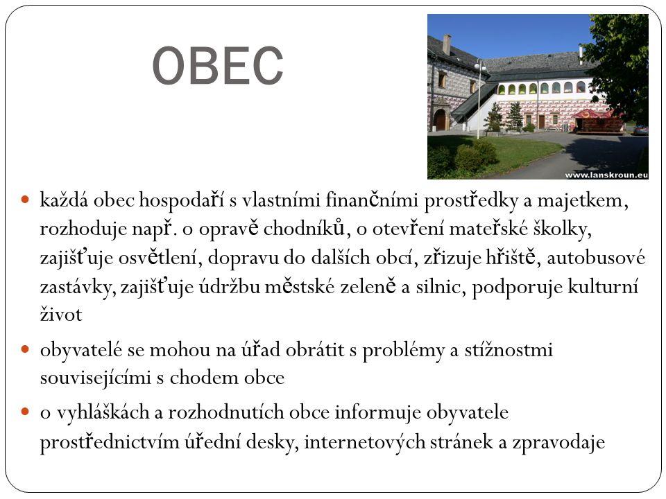 OBEC každá obec hospoda ř í s vlastními finan č ními prost ř edky a majetkem, rozhoduje nap ř. o oprav ě chodník ů, o otev ř ení mate ř ské školky, za