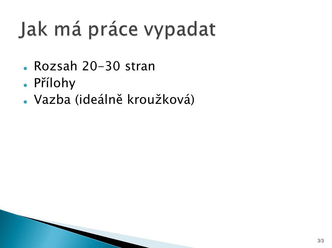 Rozsah 20-30 stran Přílohy Vazba (ideálně kroužková) 3/3