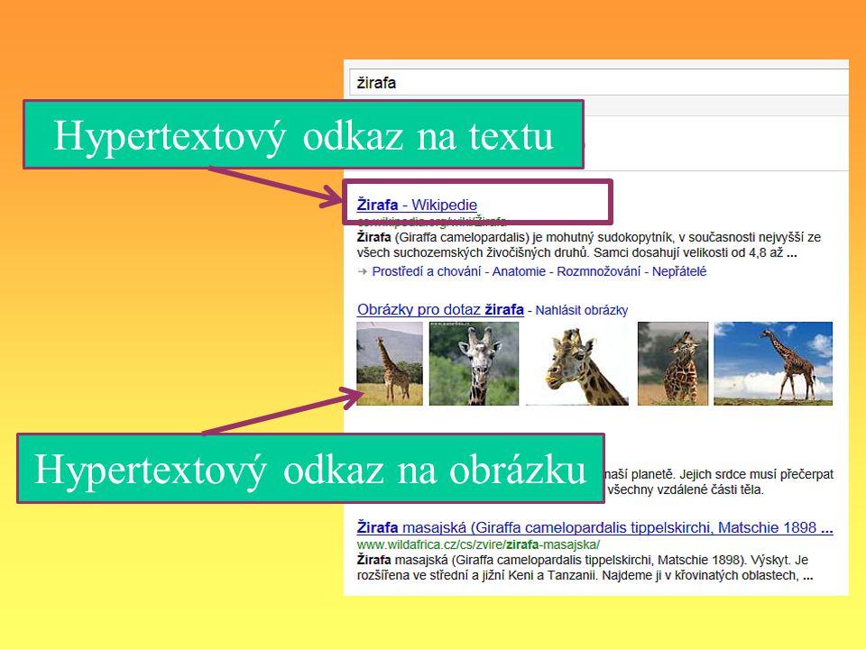 Hypertextový odkaz na obrázku Hypertextový odkaz na textu