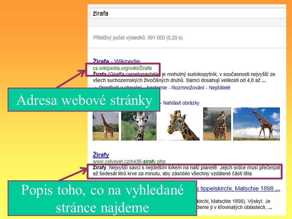 Po vyhledávání se na jedné stránce většinou nezobrazí všechny nalezené stránky, protože je jich příliš mnoho.