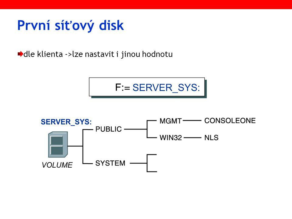 První síťový disk dle klienta ->lze nastavit i jinou hodnotu