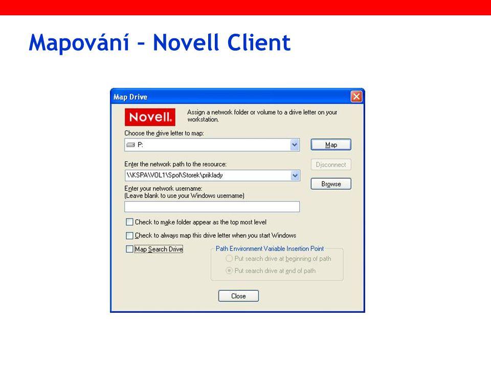 Mapování – Novell Client