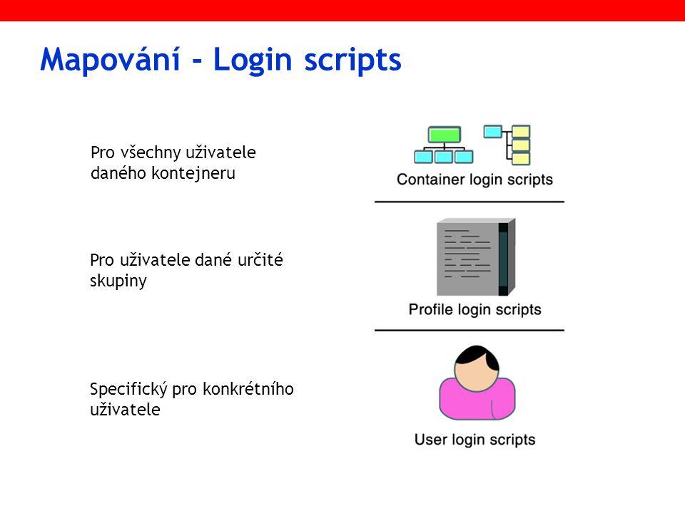 Mapování - Login scripts Pro všechny uživatele daného kontejneru Pro uživatele dané určité skupiny Specifický pro konkrétního uživatele