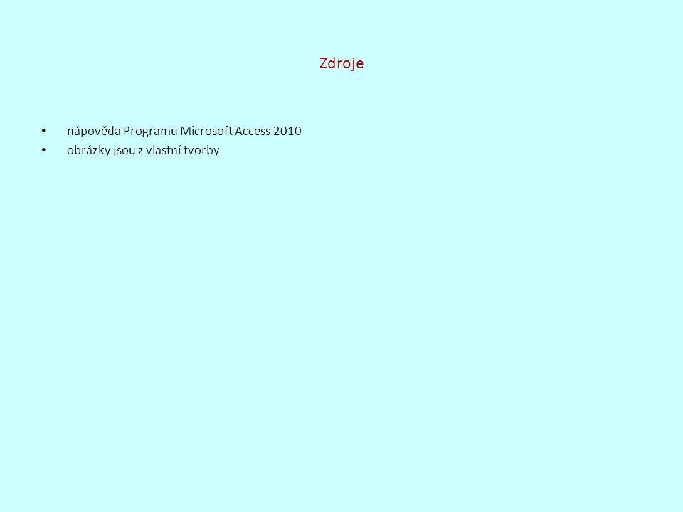Zdroje nápověda Programu Microsoft Access 2010 obrázky jsou z vlastní tvorby