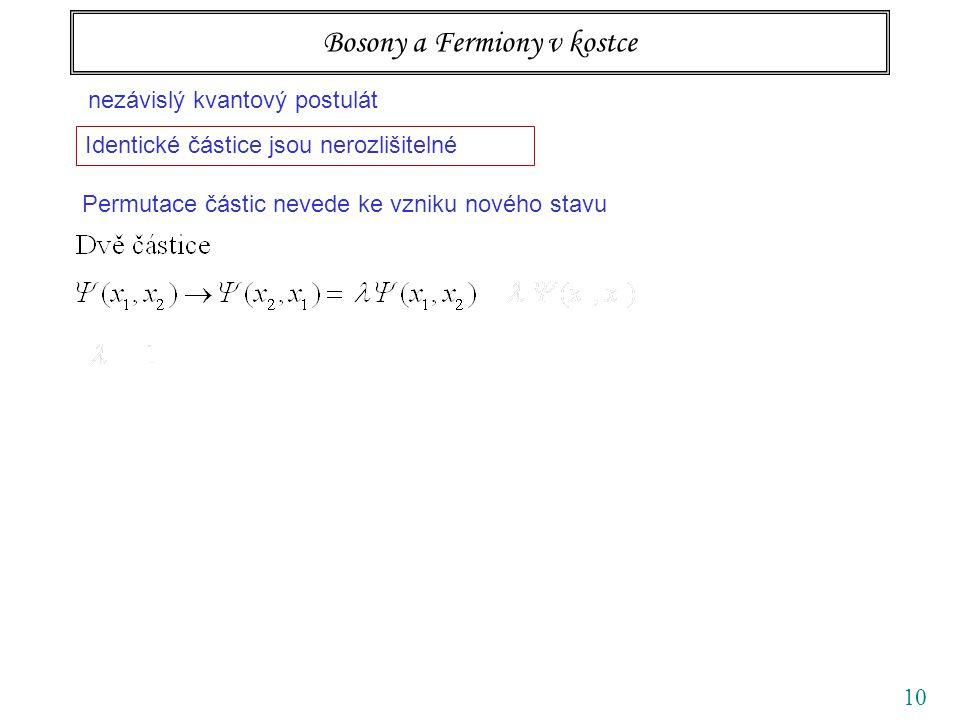 10 Bosony a Fermiony v kostce nezávislý kvantový postulát Identické částice jsou nerozlišitelné Permutace částic nevede ke vzniku nového stavu