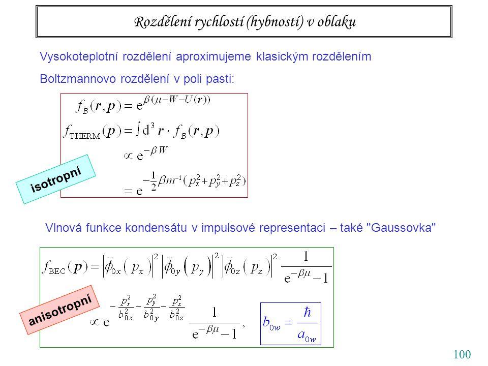 100 Rozdělení rychlostí (hybností) v oblaku Vysokoteplotní rozdělení aproximujeme klasickým rozdělením Boltzmannovo rozdělení v poli pasti: isotropní Vlnová funkce kondensátu v impulsové representaci – také Gaussovka anisotropní