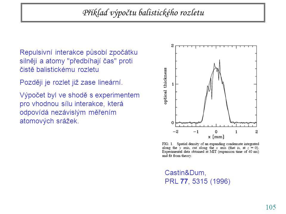 105 Příklad výpočtu balistického rozletu Repulsivní interakce působí zpočátku silněji a atomy předbíhají čas proti čistě balistickému rozletu Později je rozlet již zase lineární.