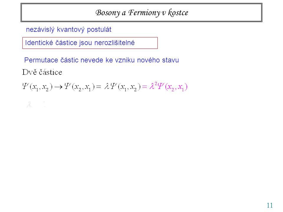 11 Bosony a Fermiony v kostce nezávislý kvantový postulát Identické částice jsou nerozlišitelné Permutace částic nevede ke vzniku nového stavu