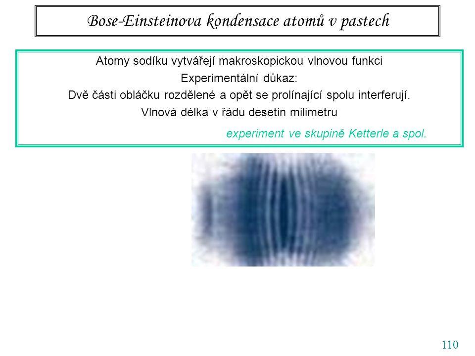 110 Bose-Einsteinova kondensace atomů v pastech Atomy sodíku vytvářejí makroskopickou vlnovou funkci Experimentální důkaz: Dvě části obláčku rozdělené a opět se prolínající spolu interferují.
