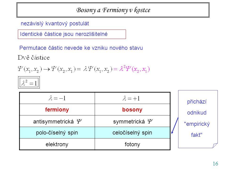 16 Bosony a Fermiony v kostce nezávislý kvantový postulát Identické částice jsou nerozlišitelné Permutace částic nevede ke vzniku nového stavu fermionybosony antisymmetrická  symmetrická  polo-číselný spinceločíselný spin elektronyfotony přichází odnikud empirický fakt