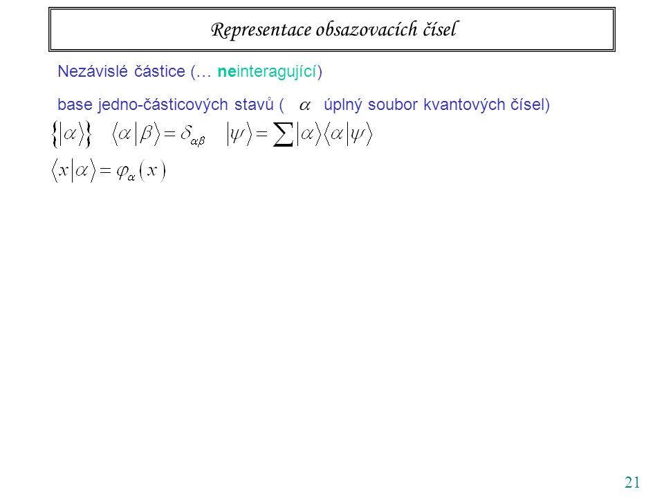 21 Nezávislé částice (… neinteragující) base jedno-částicových stavů (  úplný soubor kvantových čísel) Representace obsazovacích čísel